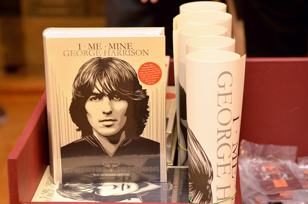 """George Harrison's book is displayed during the """"I ME MINE"""" George Harrison book launch at Subliminal Projects Gallery on Feb. 25, 2017 in Los Angeles."""