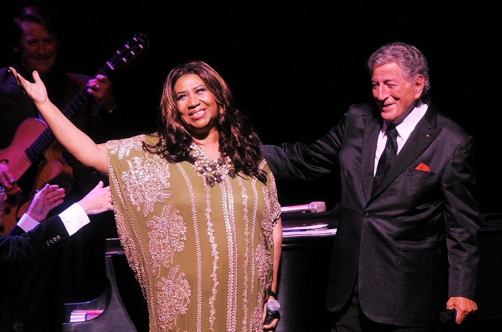 Aretha Franklin and Tony Bennett perform onstage during Tony Bennett's 85th Birthday Gala Benefit for Exploring the Arts at The Metropolitan Opera House on Sept. 18, 2011 in New York City.