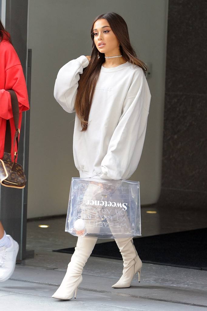 Ariana Grande seen on the streets of  Manhattan on Aug. 17, 2018 in New York.
