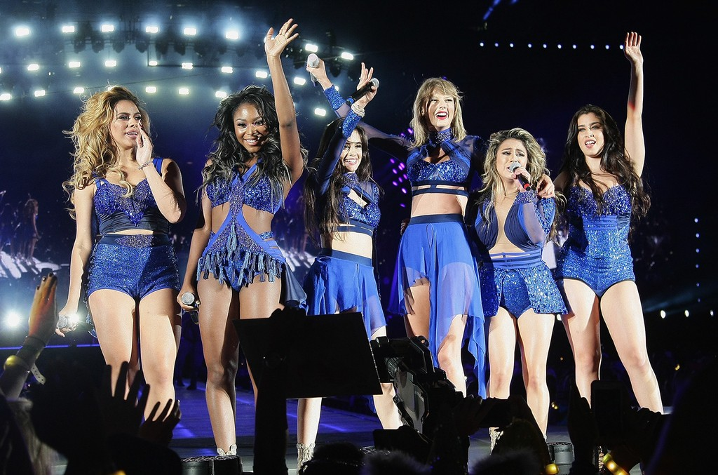 Taylor Swift, Dina Jane Hansen, Normani Kordei, Camila Corbello, Ally Brooke and Lauren Jauregi, of Fifth Harmony perform at Levi's Stadium on Aug. 14, 2015 in Santa Clara, Calif.