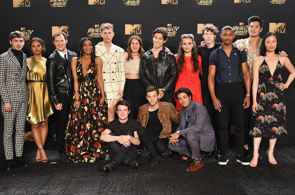 The cast of 13 Reasons Why in the press room at the 2017 MTV Movie and TV Awards at The Shrine Auditorium on May 7, 2017 in Los Angeles.