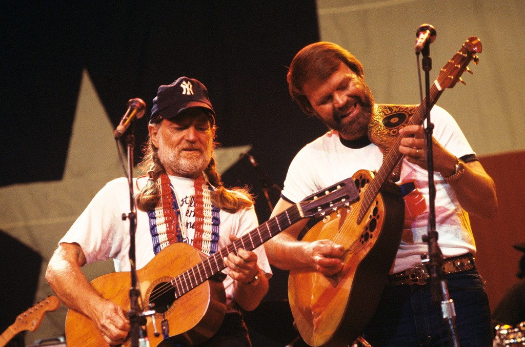 Willie Nelson and Glen Campbell performing on stage at Radio City Music Hall in New York in 1984.