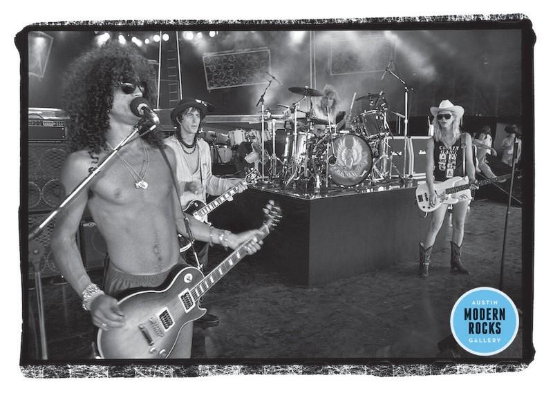 Guns N' Roses perform at the Starplex Amphitheater in Dallas, Texas in 1988.