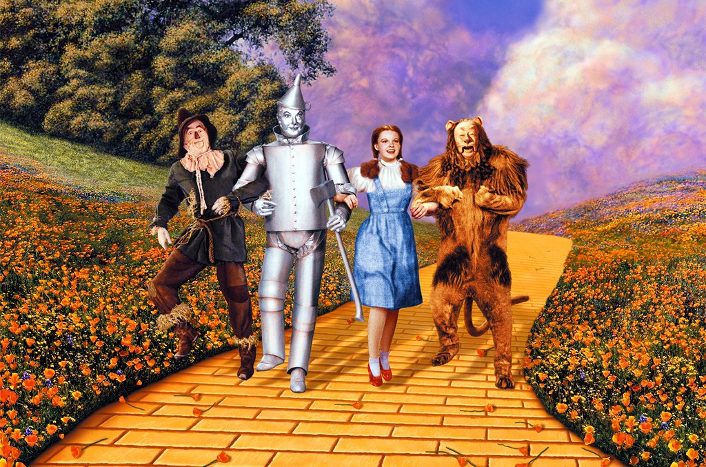 Ray Bolger, Jack Haley, Judy Garland and Bert Lahr in 'The Wizard of Oz'