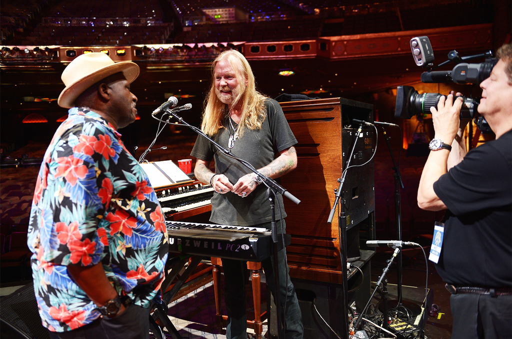 Taj Mahal and Gregg Allman rehearse for All My Friends: Celebrating the Songs & Voice of Gregg Allman at The Fox Theatre on Jan. 10, 2014 in Atlanta.