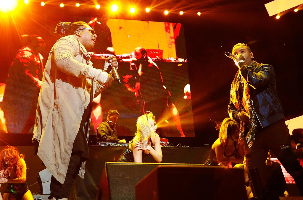 Zion & Lennox perform during Mega 96.3's Calibash 2017 at Staples Center on Jan. 21, 2017 in Los Angeles.