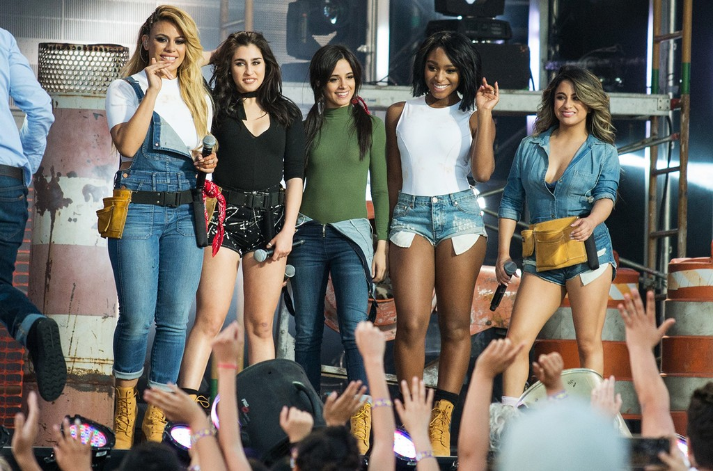 Dinah-Jane Hansen, Lauren Jauregui, Camila Cabello, Normani Hamilton and Ally Brooke of Fifth Harmony are seen at 'Jimmy Kimmel Live' on March 24, 2016 in Los Angeles.