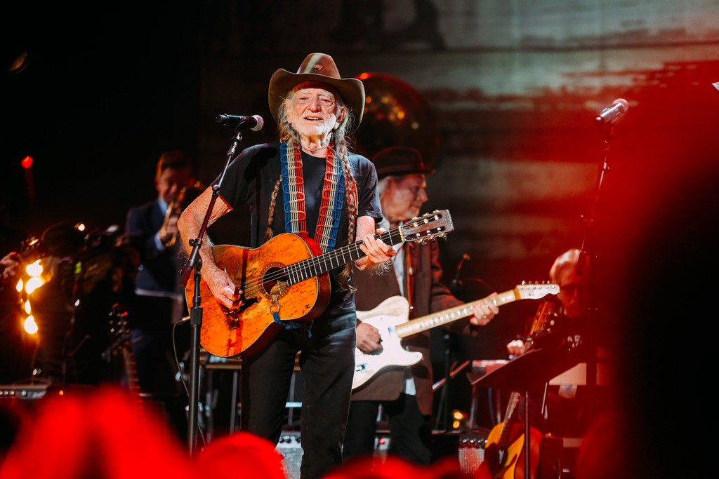 Willie Nelson performs at the Merle Haggard Tribute concert at Bridgestone Arena on April 6, 2017 in Nashville, Tenn.