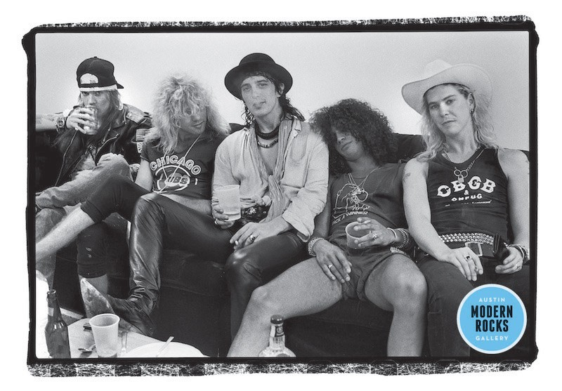Guns N' Roses backstage at the Starplex Amphitheater in Dallas, Texas in 1988.