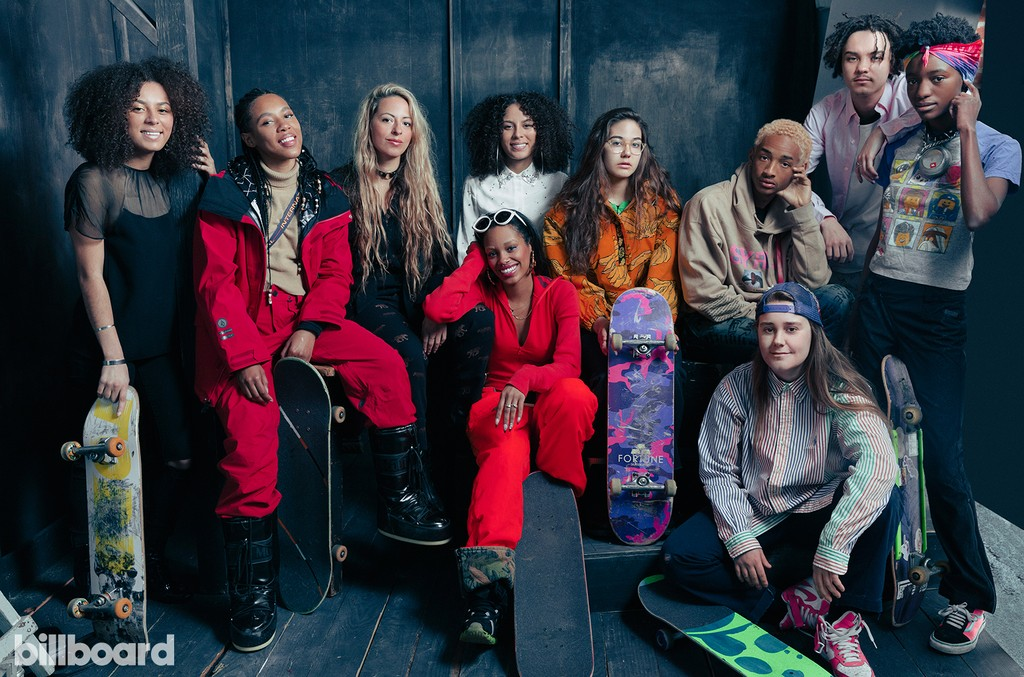 From left: Jules Lorenzo, Dede Lovelace, Crystal Moselle, Brenn Lorenzo , Rachelle Vinberg, Jaden Smith, Alex Cooper, Kabrina Adams, Nina Moran and Ajani Russell of 'Skate Kitchen'