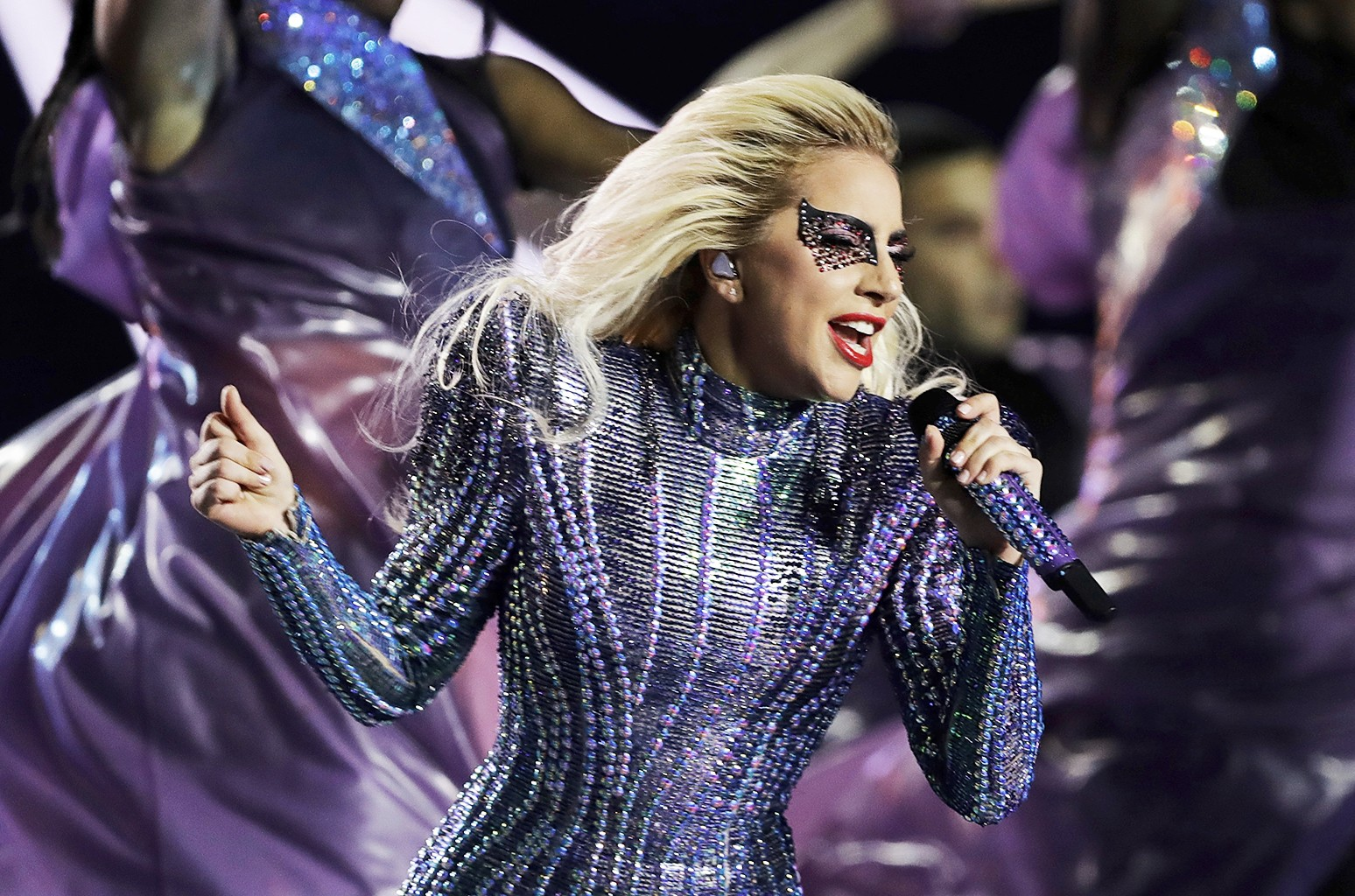 Lady Gaga performs onstage during the Pepsi Zero Sugar Super Bowl LI Halftime Show at NRG Stadium on Feb. 5, 2017 in Houston.