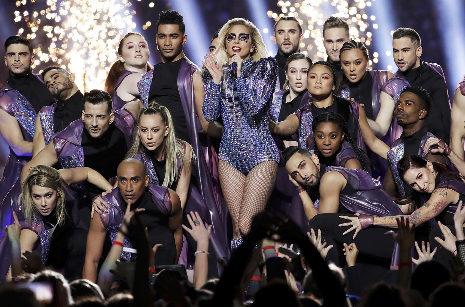 Lady Gaga performs during the Pepsi Zero Sugar Super Bowl 51 Halftime Show at NRG Stadium on Feb. 5, 2017 in Houston.