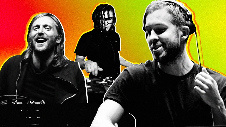 <p>David Guetta, Skrillex and Calvin Harris in 2012.</p>