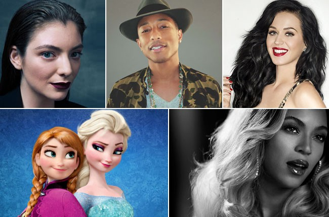 Lorde, Pharrell, Katy Perry, Frozen, Beyonce