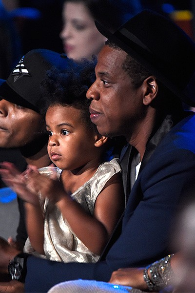 Blue Ivy Carter and Jay-Z attend the 2014 VMAs