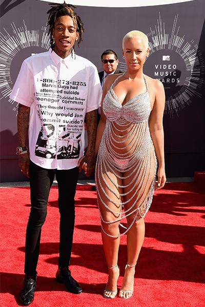 Wiz Khalifa and Amber Rose arrive at the 2014 VMAs
