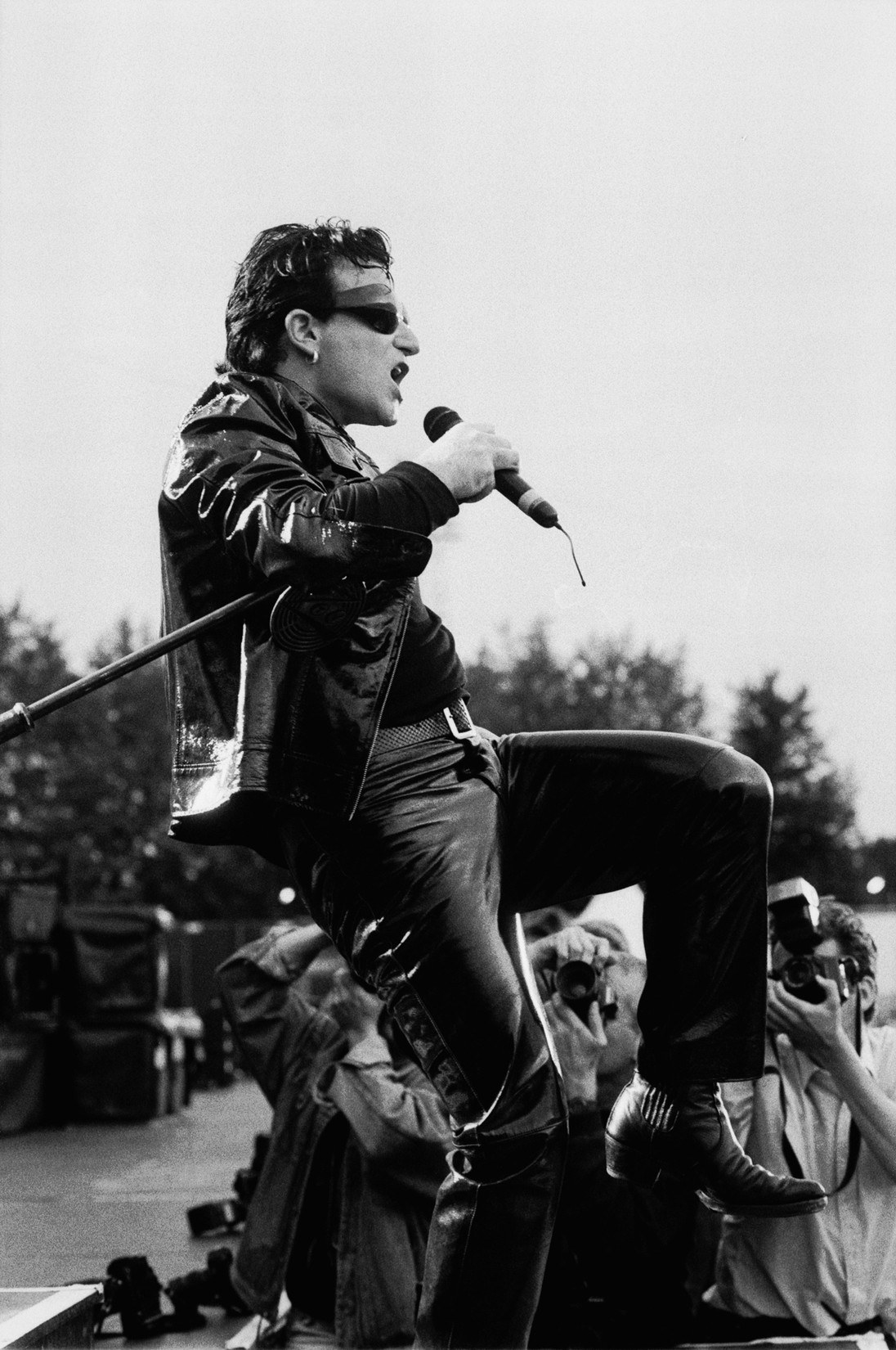 Bono, vocal, performs with U2 at the Goffert in Nijmegen, Netherlands on Aug. 3, 1993.