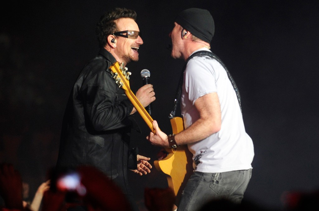 Bono and The Edge of U2 perform during the U2 360 Tour at New Meadowlands Stadium on July 20, 2011 in East Rutherford, New Jersey.
