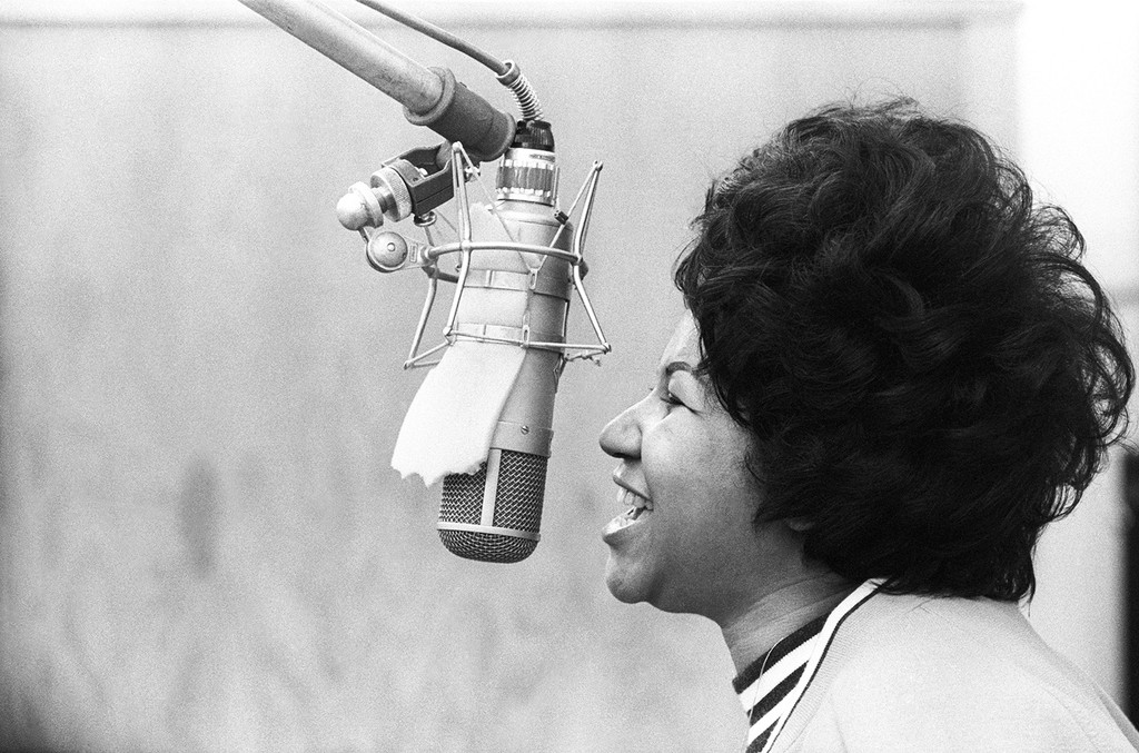 Aretha Franklin sings in the Atlantic Records studio during 'The Weight' recording session on Jan. 9, 1969 in New York City.