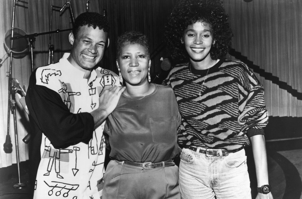 Narrada Michael Walden, Aretha Franklin and Whitney Houston pose for a portrait during the recording of the song 'It Isn't, It Wasn't, It Ain't Gonna Be Me in May 1989 in Detroit, Michigan.