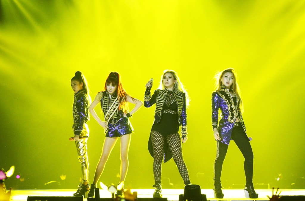 2NE1 perform on the stage during the 2015 Mnet Asian Music Awards (MAMA) at AsiaWorld-Expo on Dec. 2, 2015 in Hong Kong, China.