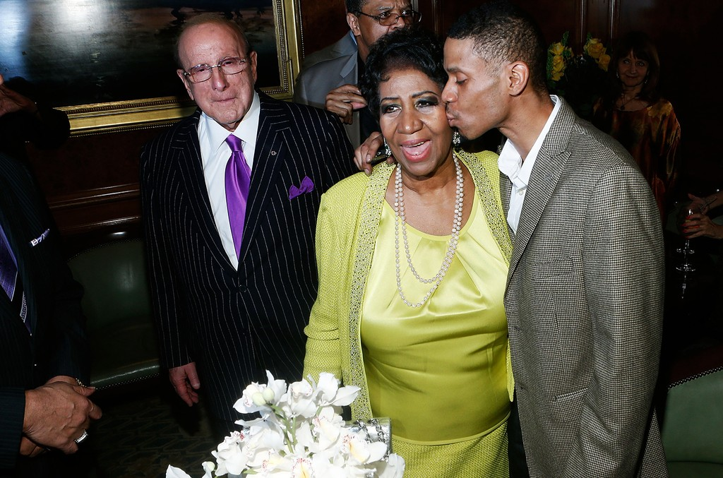 Clive Davis, Aretha Franklin and Kecalf Cunningham attend Aretha Franklin's 72nd Birthday Celebration at the Ritz Carlton on March 22, 2014 in New York City.