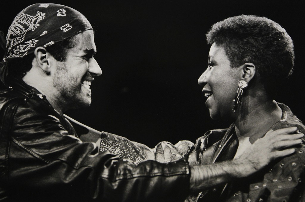 Aretha Franklin and George Michael during his Faith World Tour in Auburn Hills, Mich. in 1988.