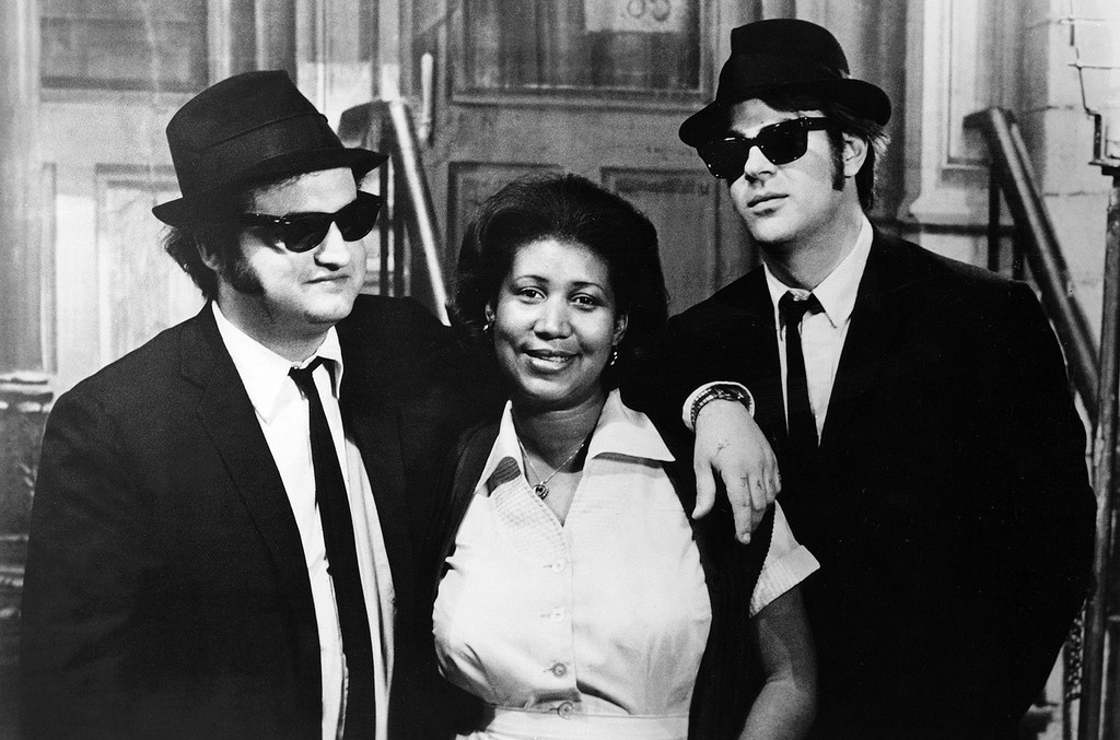 John Belushi, Aretha Franklin, Dan Aykroyd photographed during The Blues Brothers in 1980.