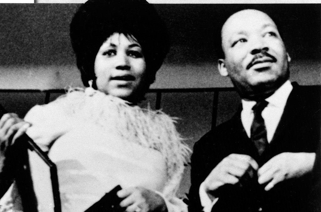 Aretha Franklin and Martin Luther King Jr. photographed in the 1960s.