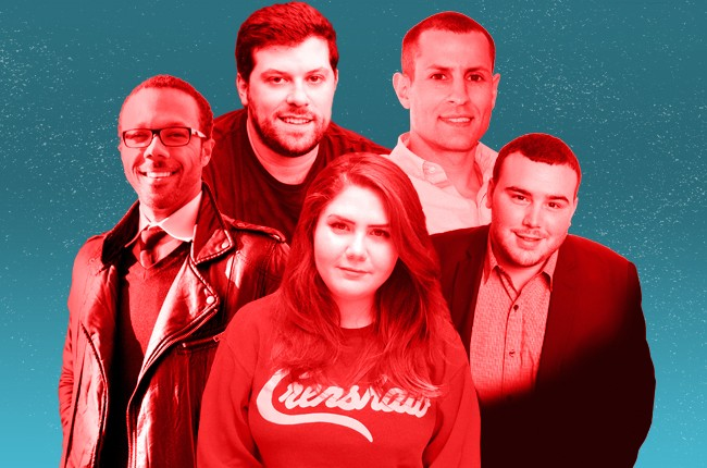 2015's 40 Under 40 Rising Stars: Walter K. Frye, Jeff Krones, Sophie Ash, Aaron Tannenbaum and Mike Navarra.