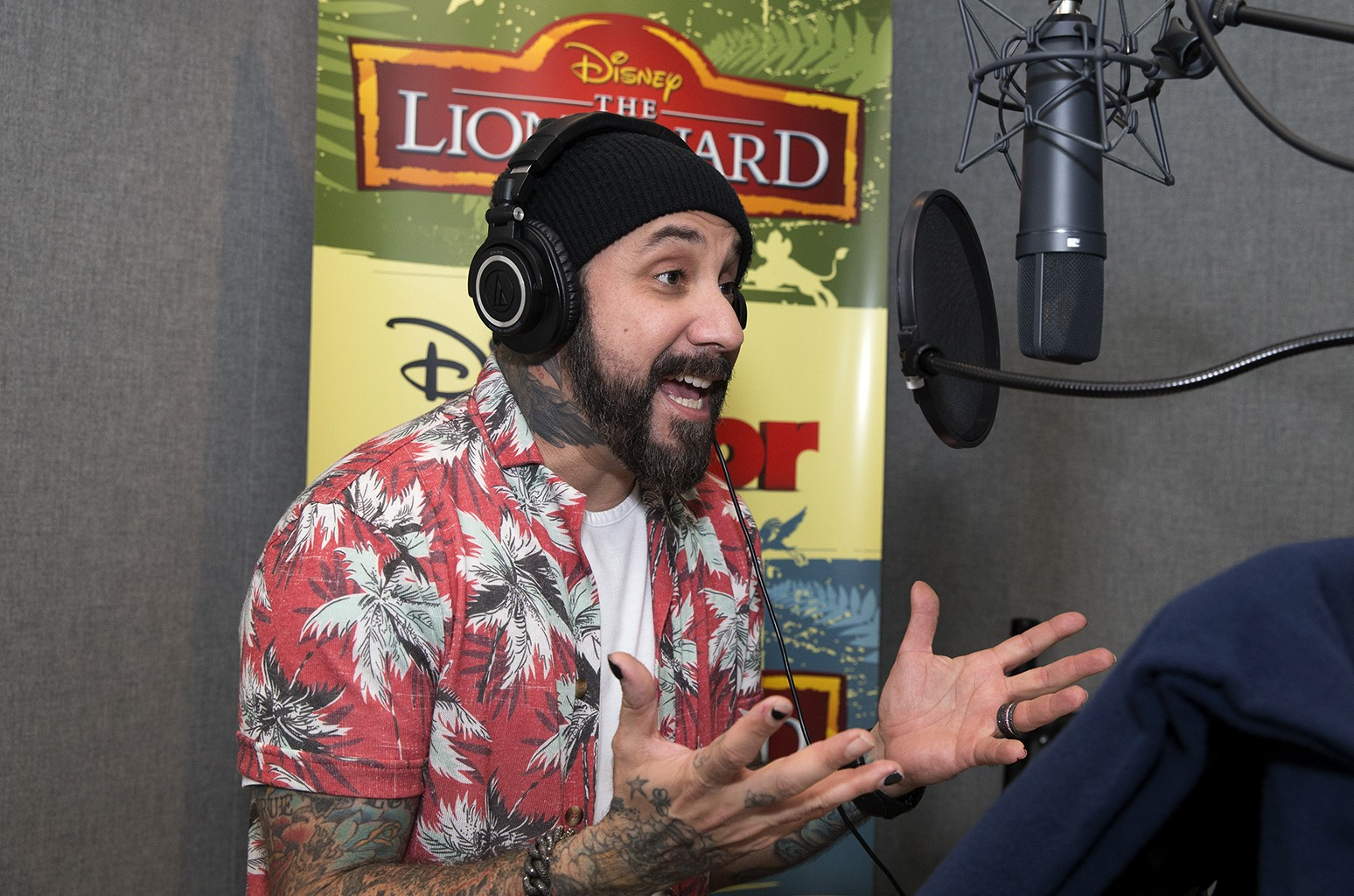 AJ McLean recording a voiceover for The Lion Guard.