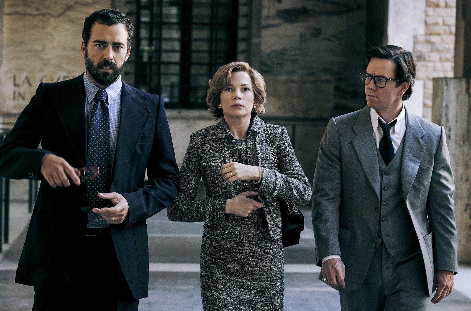 Andrea Piedimonte Bodini, Michelle Williams and Mark Wahlberg in TriStar Pictures' ALL THE MONEY IN THE WORLD.'