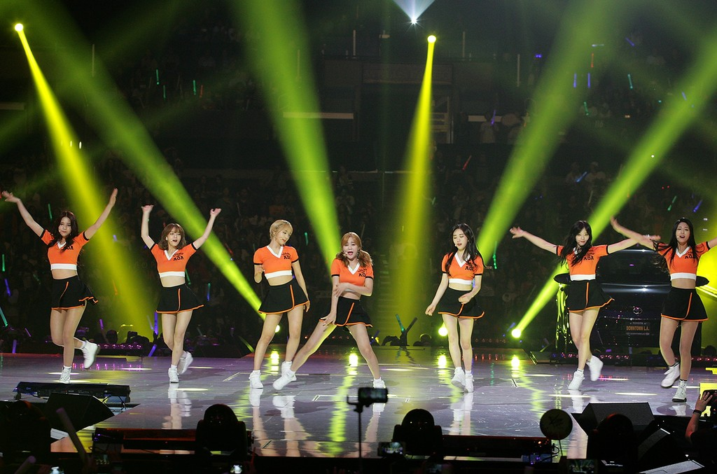 AOA perform onstage at KCON 2015 at the Staples Center on Aug. 2, 2015 in Los Angeles.