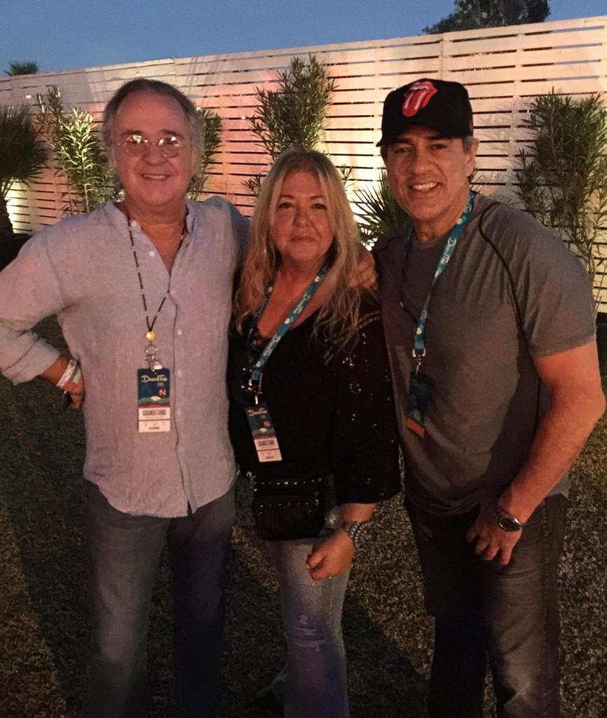 Phil Rodriguez, Angela Rodriguez and Mario Ruiz photographed during Desert Trip Festival Indio.