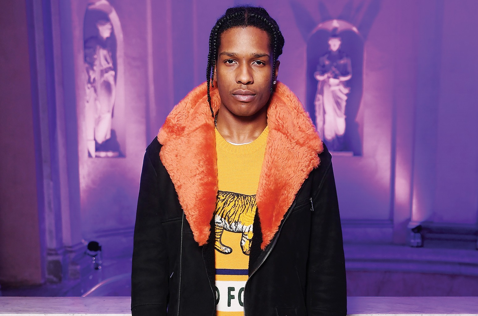 A$AP Rocky in Gucci at the brand's Milan fashion show in February.