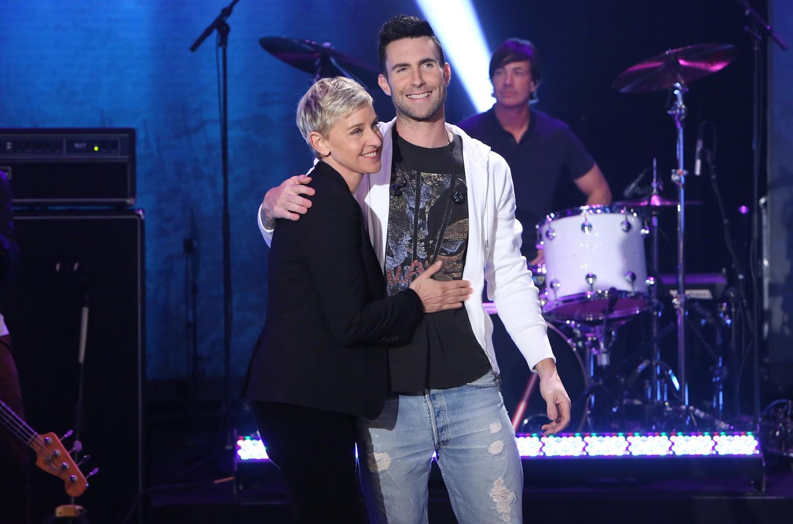 "Adam Levine on ""The Ellen DeGeneres Show"" on Feb. 15, 2017."