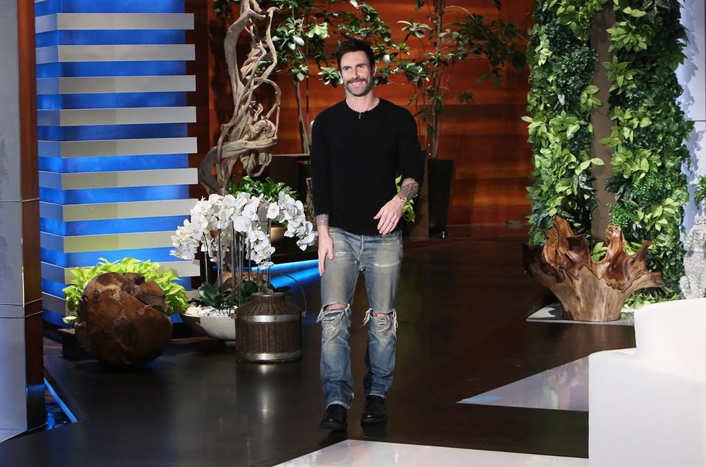 Adam Levine makes an appearance on The Ellen DeGeneres Show on Nov. 3, 2016.