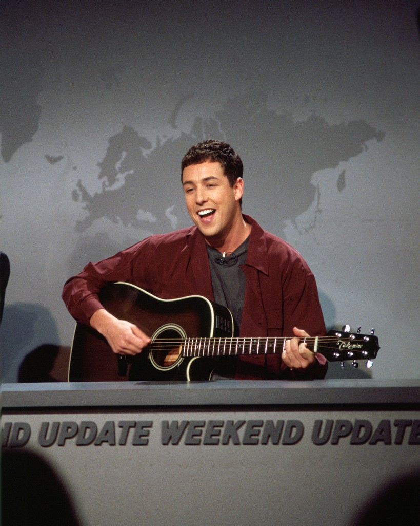 "Adam Sandler during ""Weekend Update"" on Saturday Night Live on Dec. 3, 1994."