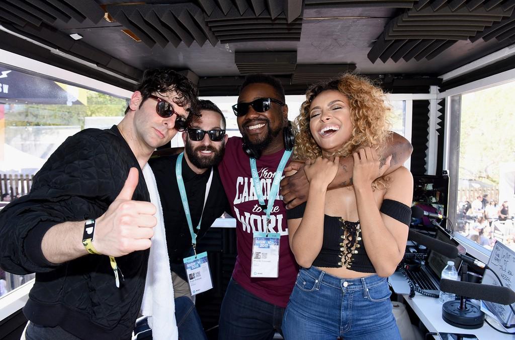 (L-R) Adam Weiner, Evan Pollack, host Phonte and Kat Graham attend Pandora at SXSW 2017 on March 15, 2017 in Austin, Texas.