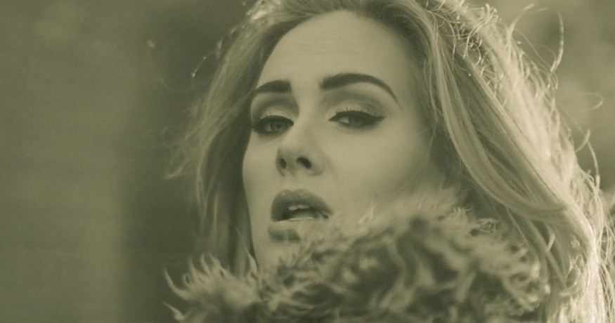 "Adele as she appears in the ""Hello"" video"