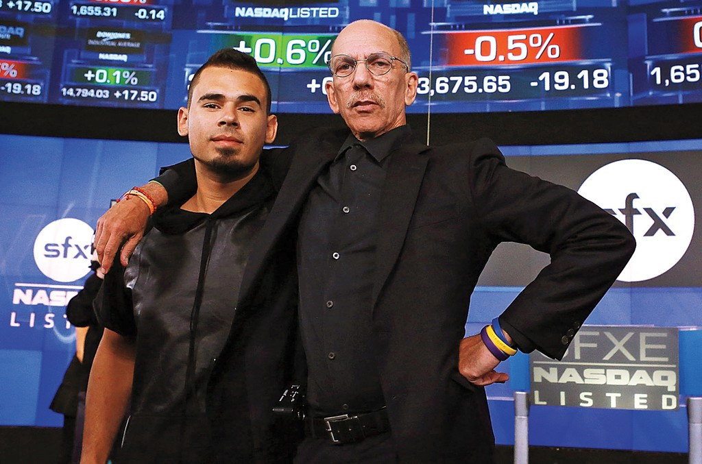 DJ Afrojack (left) and Sillerman at the NASDAQ MarketSite in New York in 2013.