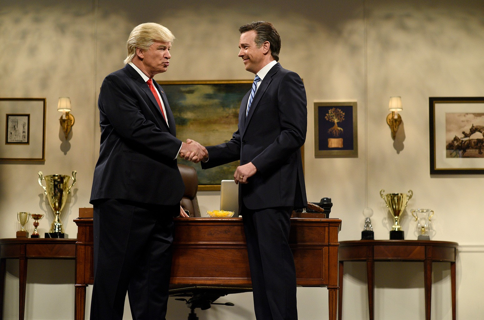 """Alec Baldwin as Donald Trump and Jason Sudeikis as Mitt Romney during the """"Donald Trump Prepares Cold Open"""" sketch on Saturday Night Live on Nov. 19, 2016."""