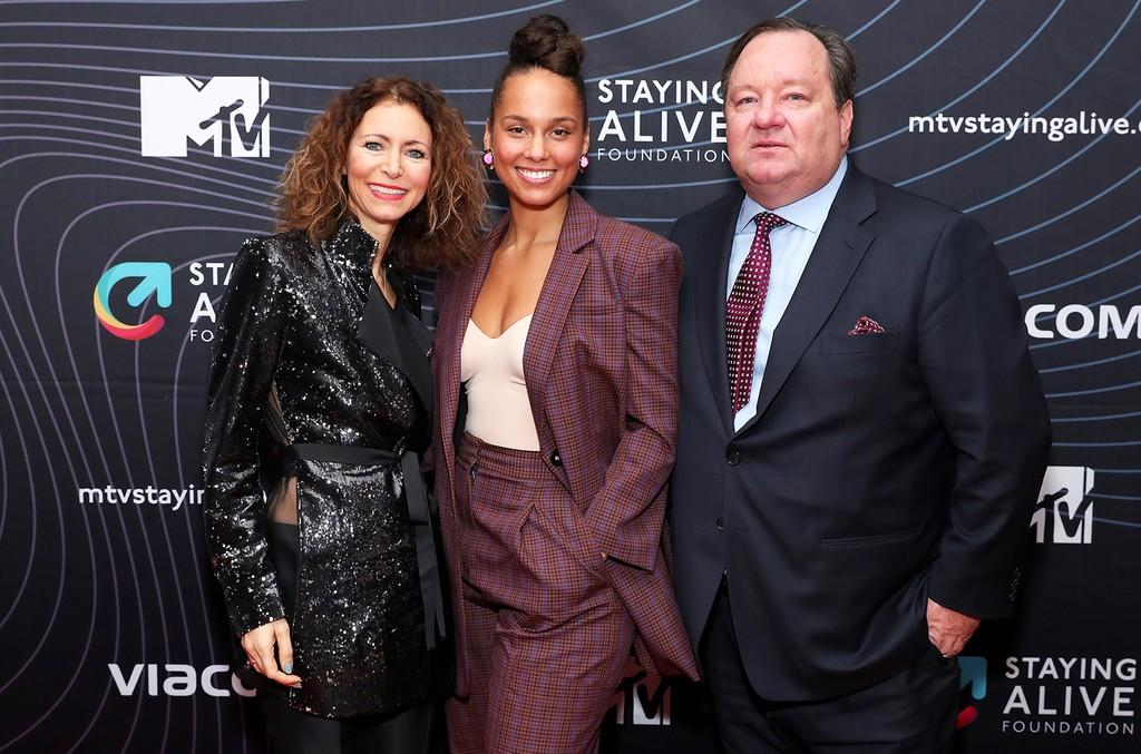 Georgia Arnold, Alicia Keys, and Bob Bakish