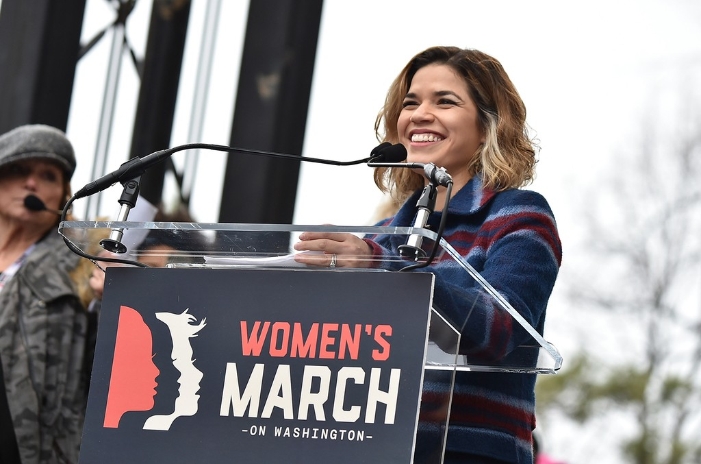 America Ferrera speaks onstage at the Women's March on Washington on January 21, 2017 in Washington, DC.  (Photo by Theo Wargo/Getty Images)
