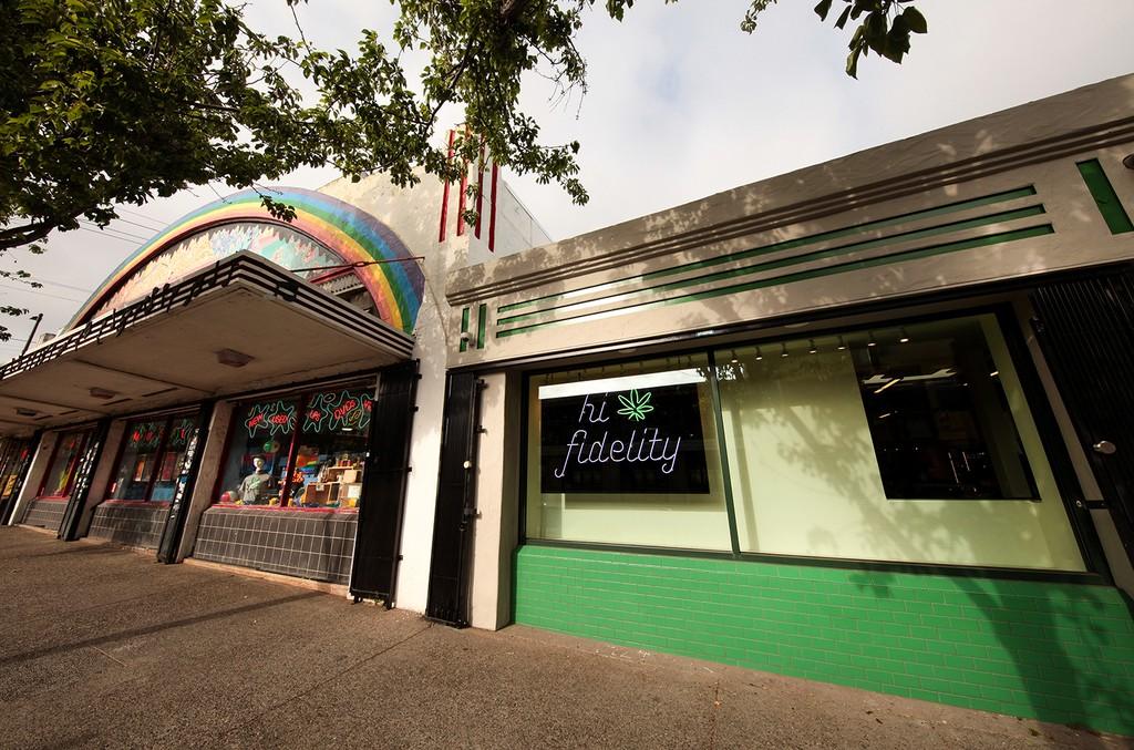 Exterior of Amoeba Music storefront and Hi-Fidelity in Berkeley, Calif.