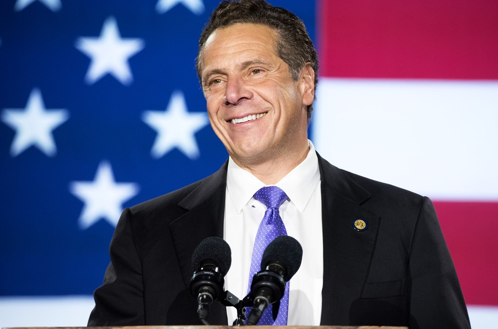 Governor of New York Andrew Cuomo speaks at Democratic presidential nominee Hillary Clinton's election night party at Javits Center on Nov. 8, 2016 in New York City.