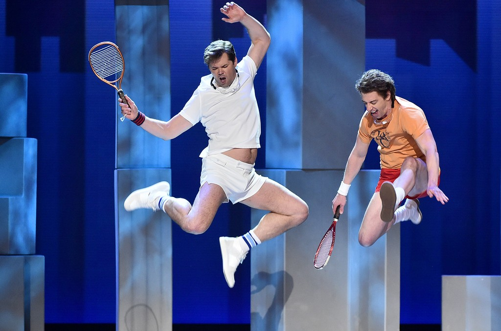 "Andrew Rannells and Christian Borle perform with the cast of ""Falsettos"" onstage during the 2017 Tony Awards at Radio City Music Hall on June 11, 2017 in New York City."