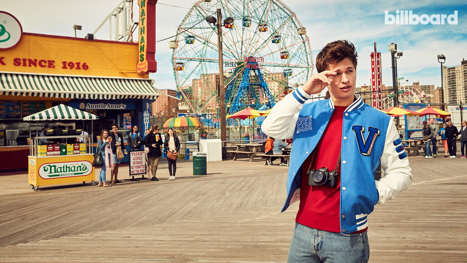 Ansel Elgort photographed May 12 at Coney Island in Brooklyn.