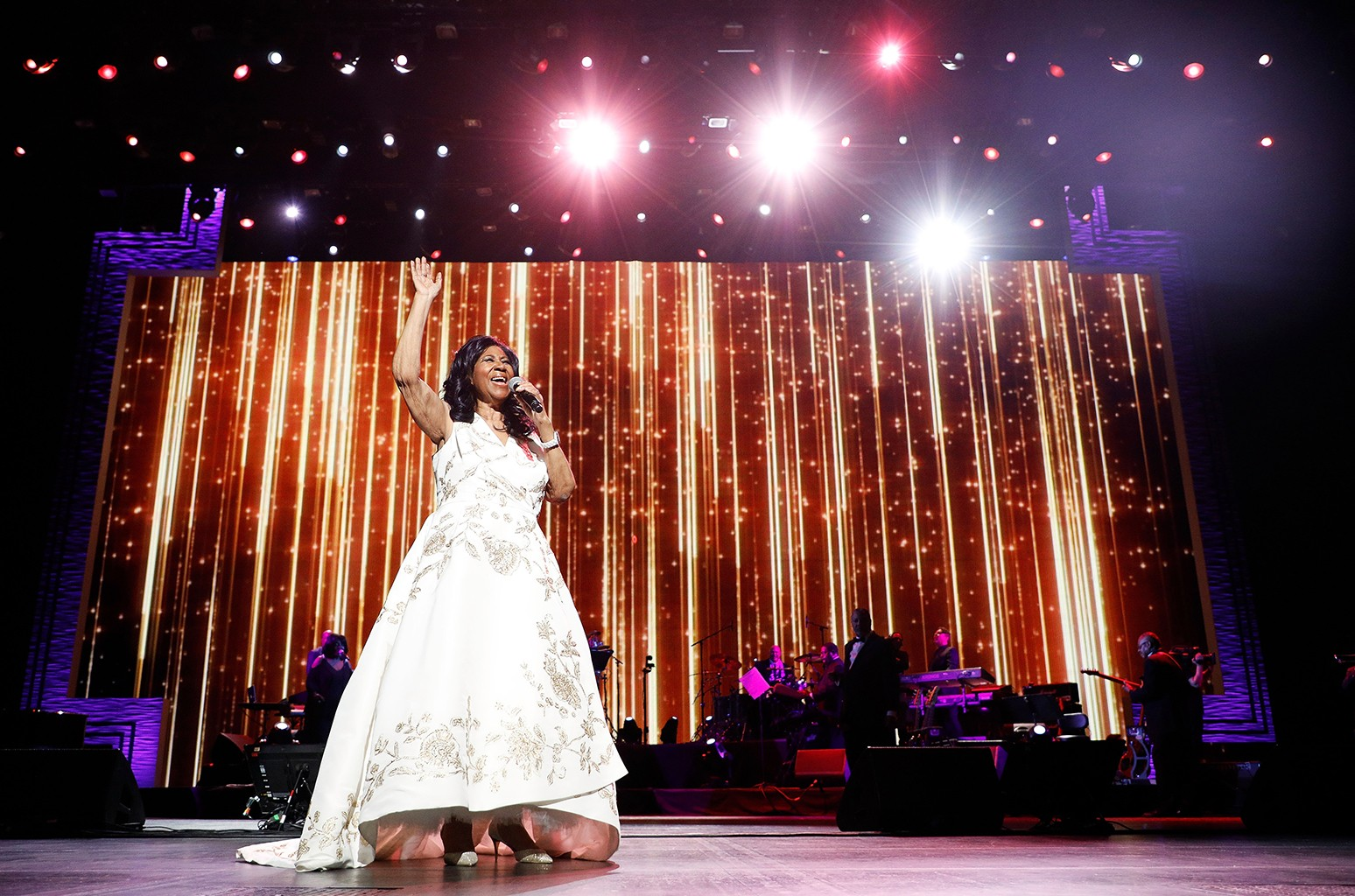"""Aretha Franklin performs during the 2017 Tribeca Film Festival Opening Gala premiere of """"Clive Davis: The Soundtrack of our Lives"""" at Radio City Music Hall on April 19, 2017 in New York City."""