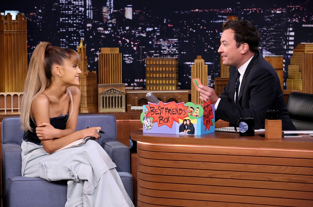 "Ariana Grande and host Jimmy Fallon play the ""Best Friend Challenge"" on The Tonight Show Starring Jimmy Fallon on Sept. 8, 2016."